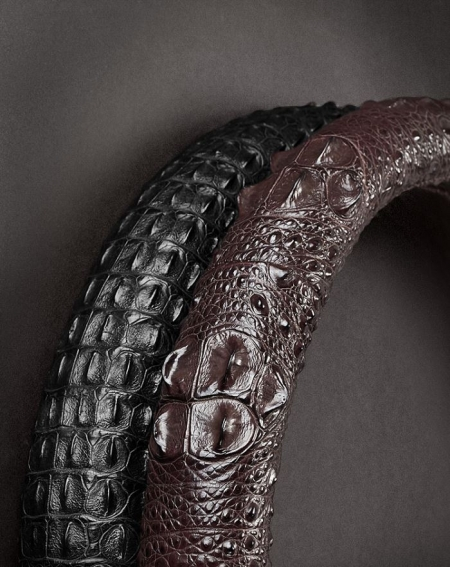 Crocodile & Alligator Leather Steering Wheel Cover Universal 15 inch-Details-1