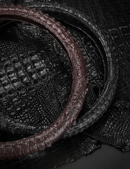 Crocodile & Alligator Leather Steering Wheel Cover Universal 15 inch-Details