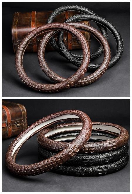 Crocodile & Alligator Leather Steering Wheel Covers-Display