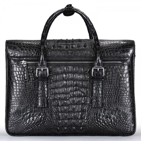 Crocodile Leather Flapover Briefcase Messenger Bag-Back