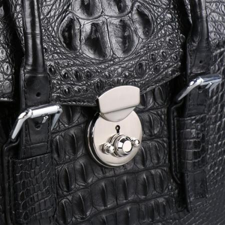 Crocodile Leather Flapover Briefcase Messenger Bag-Details