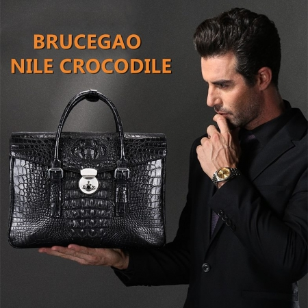 Crocodile Leather Flapover Briefcase Messenger Bag-Display