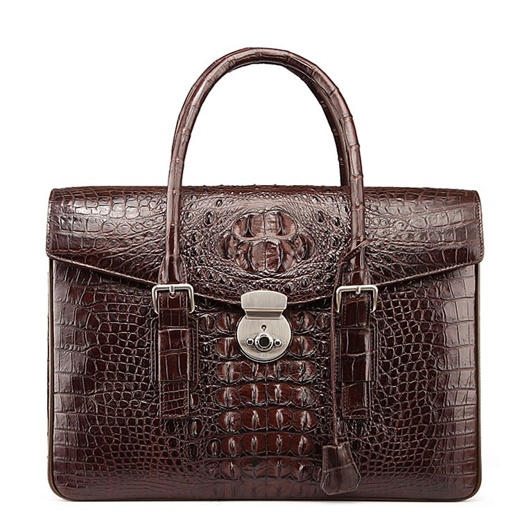 Crocodile Leather Flapover Briefcase Messenger Bag with Lock