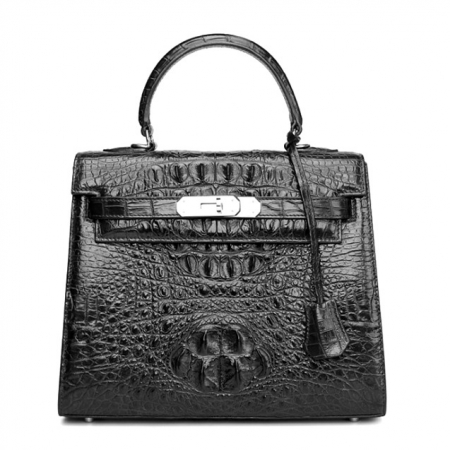 Crocodile Leather Padlock Shoulder Handbag-Black