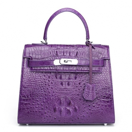 Crocodile Leather Padlock Shoulder Handbag-Purple