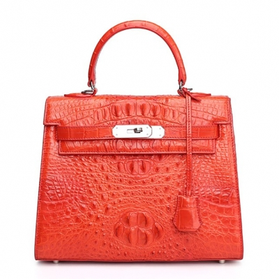 Crocodile Leather Padlock Shoulder Handbag-Red
