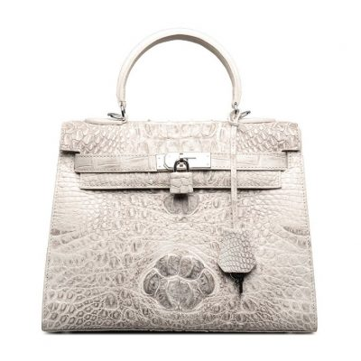 Crocodile Leather Padlock Shoulder Handbag Tote Top Handle Handbag