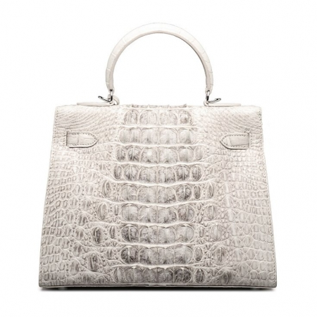 Crocodile Leather Padlock Shoulder Handbag Tote Top Handle Handbag-Back