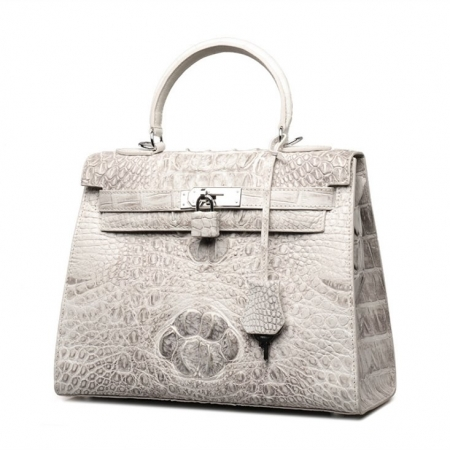 Crocodile Leather Padlock Shoulder Handbag Tote Top Handle Handbag-Display