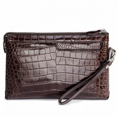 Designer Alligator Leather Large Wallet With Strap Wristlet Clutch Bag for Men