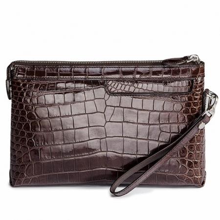 Designer Alligator Leather Large Wallet With Strap Wristlet Clutch Bag for Men