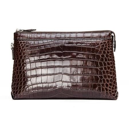 Designer Alligator Leather Large Wallet With Strap Wristlet Clutch Bag for Men-Back