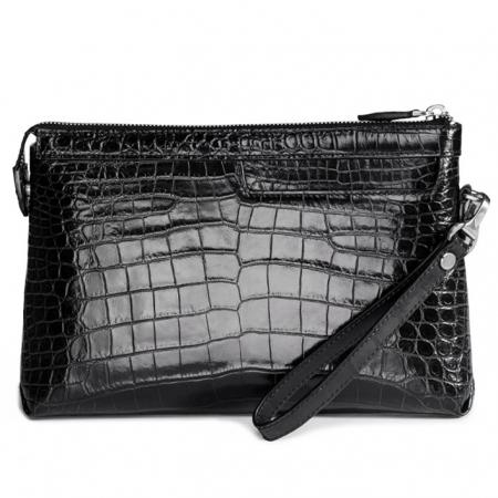 Designer Alligator Leather Large Wallet With Strap Wristlet Clutch Bag for Men-Black
