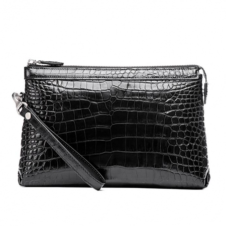 Designer Alligator Leather Large Wallet With Strap Wristlet Clutch Bag for Men-Black-Back