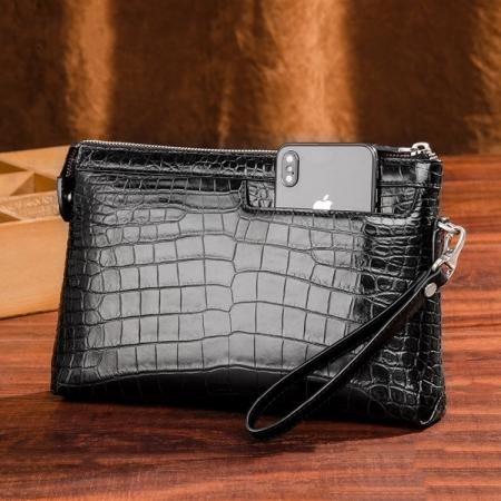 Designer Alligator Leather Large Wallet With Strap Wristlet Clutch Bag for Men-Black-Display