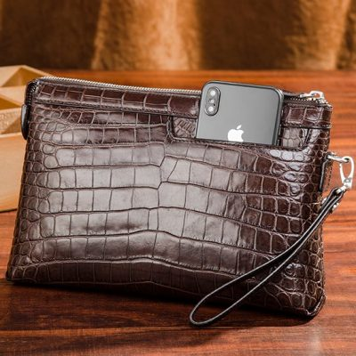 Designer Alligator Leather Large Wallet With Strap Wristlet Clutch Bag for Men-Brown-Display