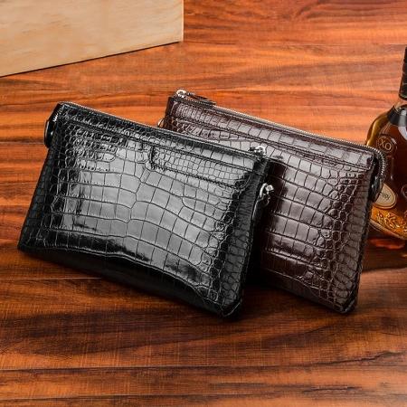 Designer Alligator Leather Large Wallet With Strap Wristlet Clutch Bag for Men-Display