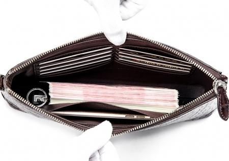 Designer Alligator Leather Large Wallet With Strap Wristlet Clutch Bag for Men-Inside
