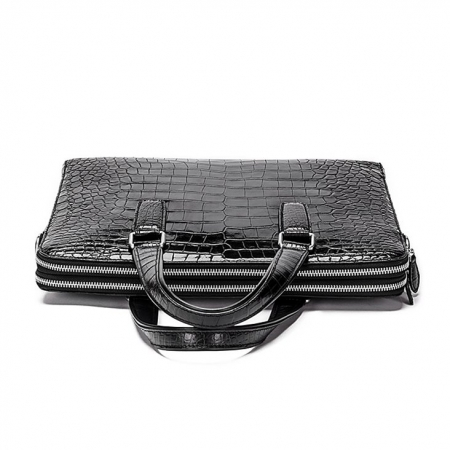 Formal Alligator Leather Briefcase Shoulder Laptop Business Bag for Men-Top
