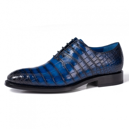 Genuine Alligator Leather Derby Shoes in Goodyear Welt-Blue