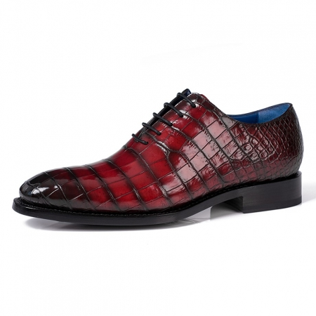 Genuine Alligator Leather Derby Shoes in Goodyear Welt-Burgundy