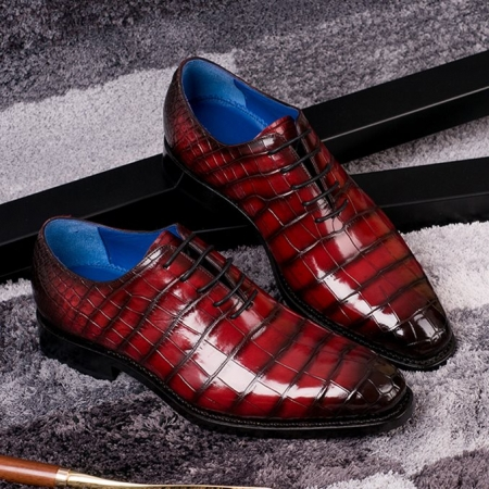 Genuine Alligator Leather Derby Shoes in Goodyear Welt-Burgundy-Display