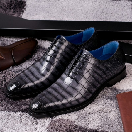 Genuine Alligator Leather Derby Shoes in Goodyear Welt-Gray-Display
