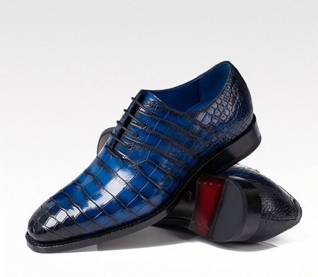 Genuine Alligator Leather Derby Shoes in Goodyear Welt for Men-Blue