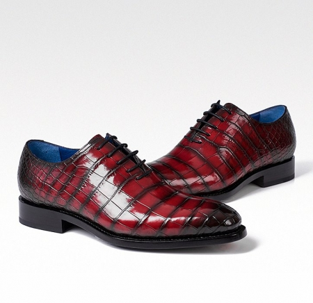 Genuine Alligator Leather Derby Shoes in Goodyear Welt for Men-Burgundy