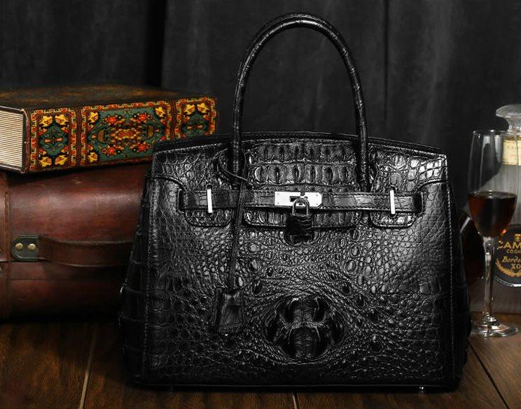 Genuine Siamese crocodile leather handbag