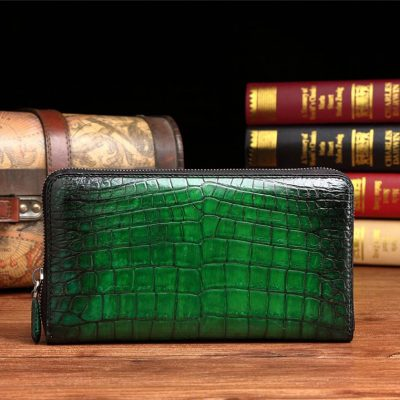 Handcrafted Alligator Leather Wallet Business Organizer Purse for Men