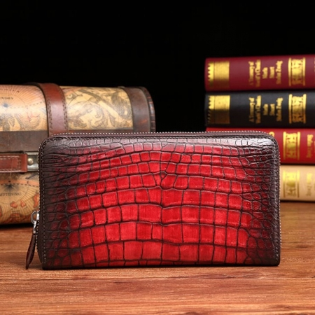 Handcrafted Alligator Leather Wallets Business Organizer Purse for Men-Burgundy