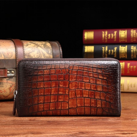 Handcrafted Alligator Leather Wallets Business Organizer Purse for Men-Cognac