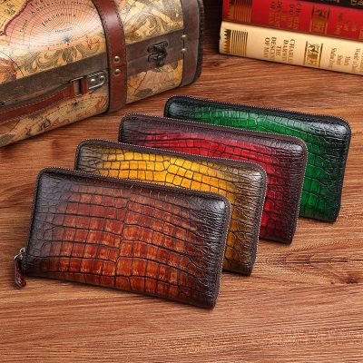 Handcrafted Alligator Leather Wallets Business Organizer Purse for Men-Display