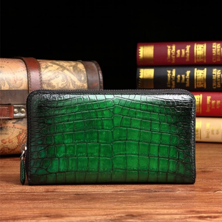 Handcrafted Alligator Leather Wallets Business Organizer Purse for Men-Green