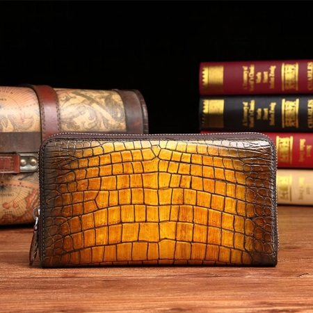 Handcrafted Alligator Leather Wallets Business Organizer Purse for Men-Orange