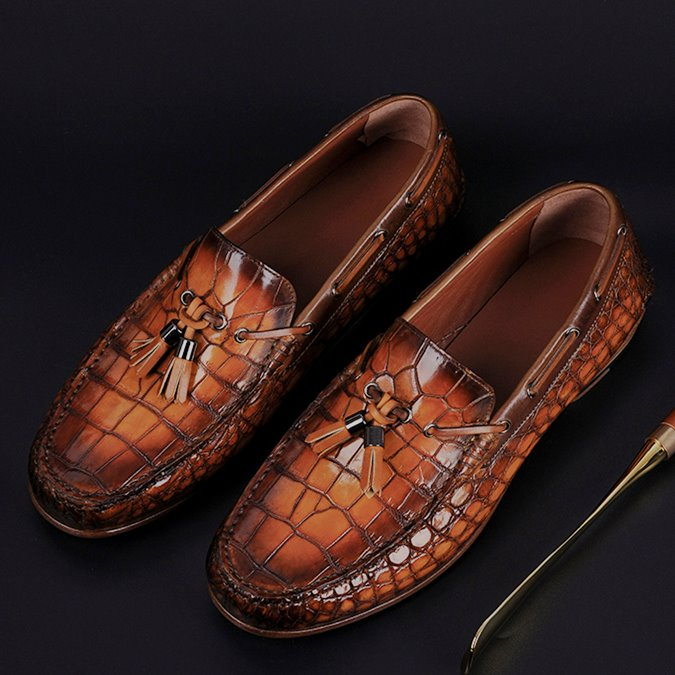 c33b78e2c5b Handcrafted Men s Alligator Classic Tassel Loafer Leather Lined Shoes-Brown