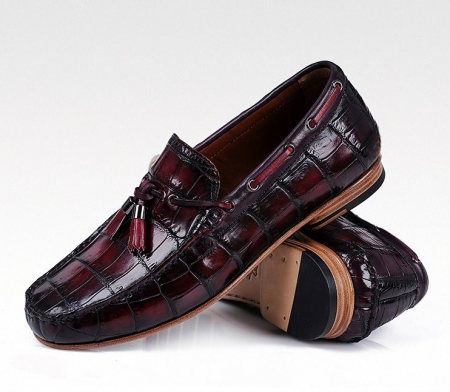 Handcrafted Men's Alligator Classic Tassel Loafer Leather Lined Shoes-Burgundy-1