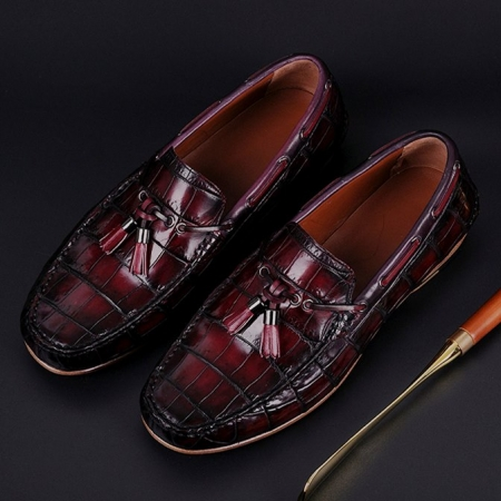 Handcrafted Men's Alligator Classic Tassel Loafer Leather Lined Shoes-Burgundy