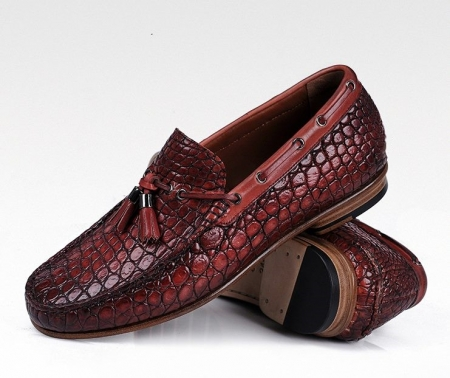 Handcrafted Men's Alligator Classic Tassel Loafer Leather Lined Shoes-Cognac-1
