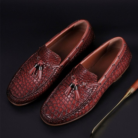 Handcrafted Men's Alligator Classic Tassel Loafer Leather Lined Shoes-Cognac