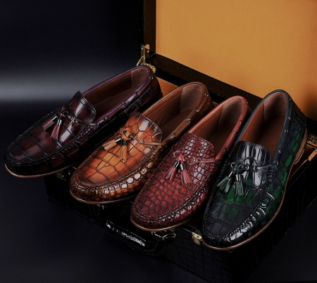 Handcrafted Men's Alligator Classic Tassel Loafer Leather Lined Shoes-Display