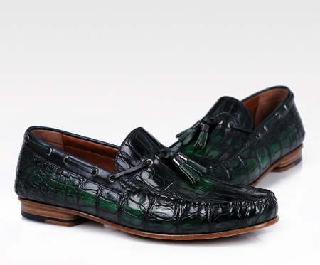 Handcrafted Men's Alligator Classic Tassel Loafer Leather Lined Shoes-Green-1