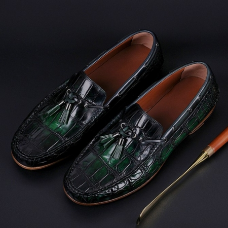 Handcrafted Men's Alligator Classic Tassel Loafer Leather Lined Shoes-Green