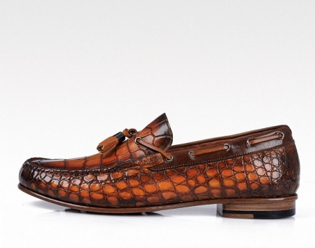 Handcrafted Men's Alligator Classic Tassel Loafer Leather Lined Shoes-Side