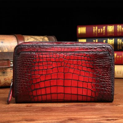 Handcrafted Mens Alligator Leather Zipper Long Wallet Business Hand Clutch Phone Holder-Burgundy