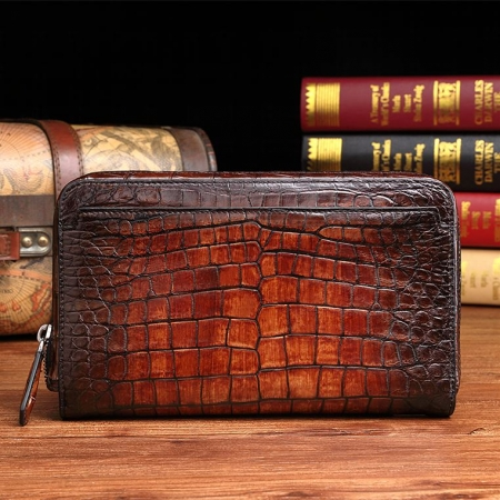 Handcrafted Mens Alligator Leather Zipper Long Wallet Business Hand Clutch Phone Holder-Cognac