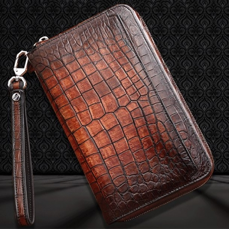 Handcrafted Mens Alligator Leather Zipper Long Wallet Business Hand Clutch Phone Holder-Cognac-Display
