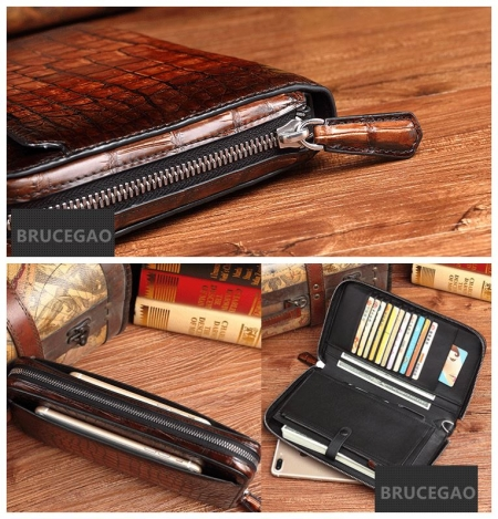 Handcrafted Mens Alligator Leather Zipper Long Wallet Business Hand Clutch Phone Holder-Details
