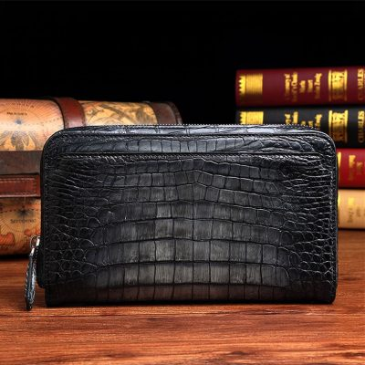 Handcrafted Mens Alligator Leather Zipper Long Wallet Business Hand Clutch Phone Holder-Gray